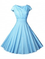 Light Blue V Collar Wrap Dot Empire Waist Skater Dress Comfort Fashion