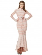 Apricot Fishtail Waist Belt Lace Bandage Dress Buttons Fashion Comfort