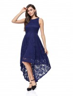 Attractive Navy Blue Zip Invisible Lace Dovetail Hem Evening Dress Best Material