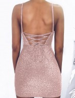 Comfy Pink Empire Waist Shine Scoop Neck Bodycon Dress Sexy Ladies