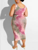 Pink Knot Scoop Collar Tie Dye Large Size Cropped Set Stunning Style