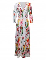 Flower Wrap V Collar Pocket Side Maxi Dress Contouring Sensation