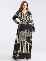 Bewitching V Neck Wrap Long Sleeve Tie Big Size Maxi Dress For Ladies