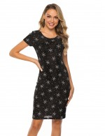 Contouring Sensation Black Jewel Star Pattern Short Sleeves Tight Dress