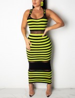 Functional Green U Neck Maxi Bodycon Dress Stripes Superior Quality