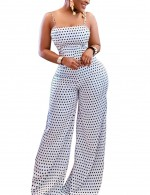 Glamorous White Slender Straps Backless Jumpsuits Polka Dot Smooth