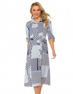 Light Blue Plaid Stripes Bow Tie Midi Dress Lapel Feminine Elegance