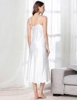 Flirty White Slender Strap Faux Silk V Neck Sleepwear Plain High Grade