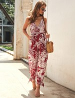 Flirtatious Red Split Print Plunging Cami Wrapped Rompers Slim Fit