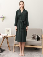 Catching Army Green Belt Big Size Cotton Long Sleeves Midi Bathrobe Dissolute Night