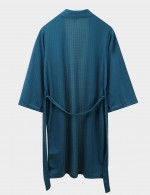 Blackish Green Knee Length Long-Sleeved Solid Color Robe Plus Size Romance Time