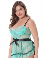 Pure Light Green Sheer Lace Belted Wrap Plus Size Babydoll Female