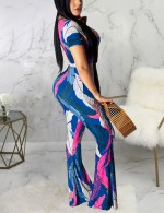 Blue V-Neck Crop Top Bow Tie And Pants Two Piece For Female