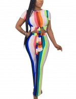 Bodycon Fit Mixed Color Short Sleeve Knotted Round Collar Jumpsuit