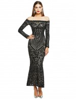 Nicely Black Off Shoulder Sequin Back Zipper Gown Female