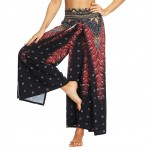 Bright Dot Printing Wide Legs Slit Pants For Ladies