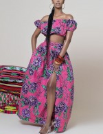 Glam Rose Red High Waist Strapless Tripe Print Skrit Suit Lady Fashion