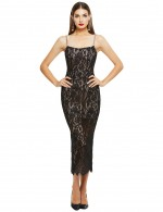 Sparkly Black Perspective Bandage Dress Sling Lace Leisure Wear