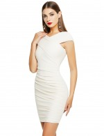 Gorgeously Apricot Zip At Back Bandage Dress Cap Sleeve Ideal Choice