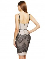 Body Hugging Apricot Sling Lace Open Back Zipper Bandage Dress