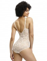 Effective Skin Full Body Shaper Floral Print Open Back Intant Shaping