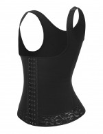 Black Lace Trim Wide Strap Full Body Shaper Breasted High Quality