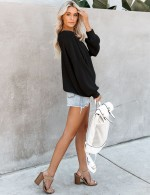 Exquisitely Black Long Sleeve Fallen Shoulder Knit Sweater Versatile Item