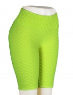 Body Sculpting Green Tight Jacquard Bike Gym Shorts High Waist