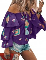 Pretty Purple Blouse Geometric Pattern Retro Off Shoulder Woman