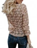 Apricot Bell Sleeve Lace Star Detail Crew Neck Shirt Nice Quality