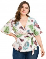 Fetching White Leaf Pattern Deep-V Neck Plus Size Top Going Out Outfits