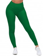 Powerful Green Ruched Yoga Legging Ankle Length High Rise Training Apparel