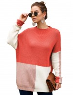 Orange Full Sleeves Loose Knit Sweater Round Collar Home Clothes