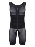 Black Open Crotch Plus Size Hook Men's Shaper Zipper Body Sculpting