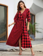 Casual Red 3/4 Sleeve Grid Maxi Dress Waist Belt Feminine Fashion