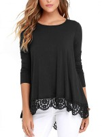 Black Round Neck Full Sleeve A-Line Shirt Casual Women Clothes Online
