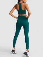 Blackish Green Racerback Widened Hem Top Tight Leggings Seamless