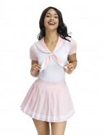 Angel Pink Sailor Collar Teddy Pleated Mini Skirt Top Quality
