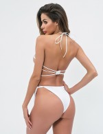 Luxurious White Knotted G String Bright Diamond Bralette Fashion