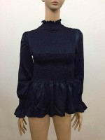 Best Dark Blue Pleated High Collar Shirt Full Sleeve Feminine Grace