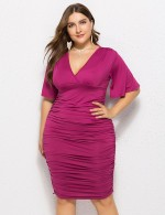 Beautifully Designed Purple Plus Size Midi Length Pleated Dress