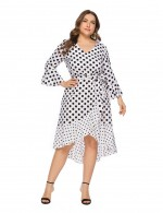 Astonishing V-neck Dot Print White Dress Stitching Ruffled Hem Slim