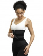Distinctive Black Zipper Widened Sticker Waist Cincher Garment