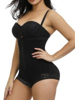 Weight Loss Black High Waist Hook Front Plus Size Bodysuit Shape Breathable