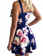 Edgy Blue Sleeveless Floral Printing Mini Dress Understated Design