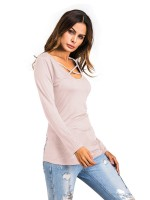 Likable Apricot Patchwork Curved Hem Full Sleeve Shirt Natural Outfit