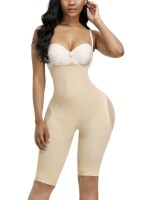 Two-Timing Skin Color Button Tab Full Body Shaper Solid Color Bodycon