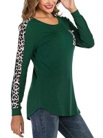 Fresh Green Full Sleeve Leopard Patchwork T-Shirt Natural Women Fashion