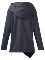 Appealing Dark Gray High-Low Hem Plain Hoodie Coat Quality Assured