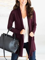 Flattering Wine Red Long Sleeve Solid Color Knit Top Good Elasticity